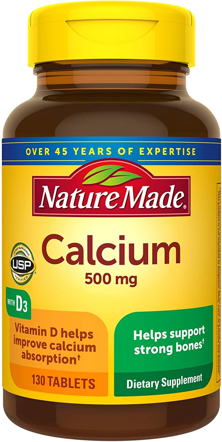 Amazon Com Nature Made Calcium 500 Mg With Vitamin D3 For Immune Support Tablets 130 Count Helps Support Bone Strength Health Personal Care