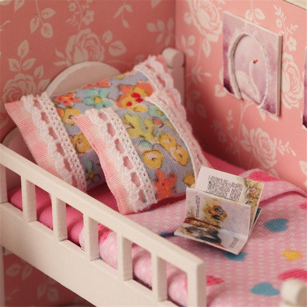 Oshide Puppenhaus S/ü/ß DIY House mit Licht Musik als Kinder Geschenk Blassgr/ünes Zimmer