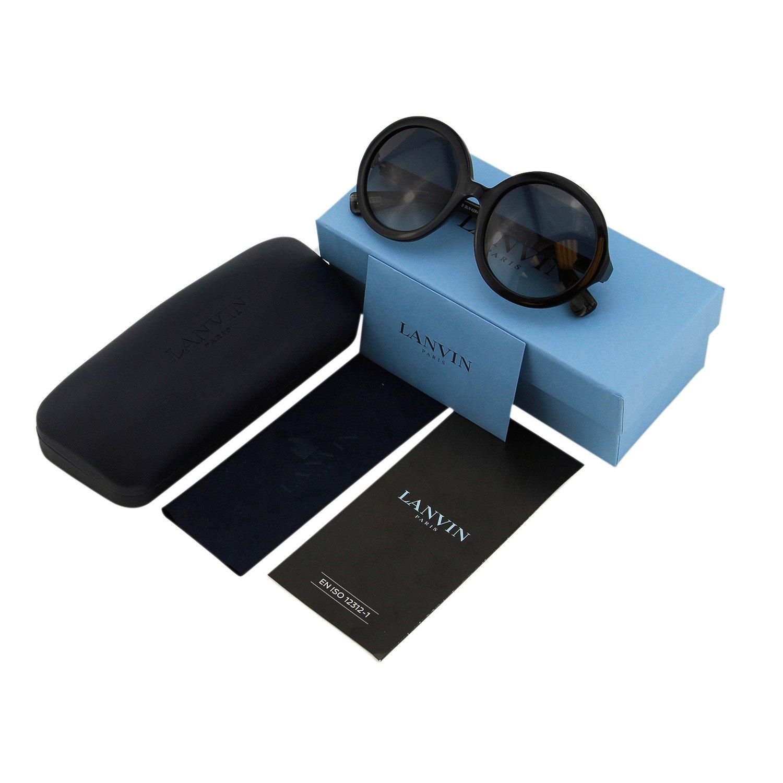 85c871467 Amazon.com: Lanvin Paris SLN628V Women Round Black Piton Leather Detail Oversize  Sunglasses: Clothing