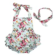 Baby Girls 2pcs Sets Cotton Ruffles Romper Outfits Clothes Blue Roses Flower 6 Months