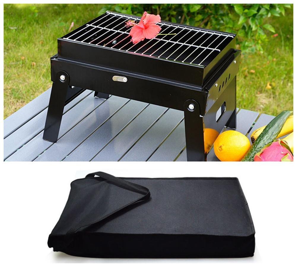 HomJo Barbacoa grill Portable plegable piernas una parrilla Camping exterior de acero inoxidable pedestal carbón de leña Barbacoa parrilla de Utensilios 3-5 ...