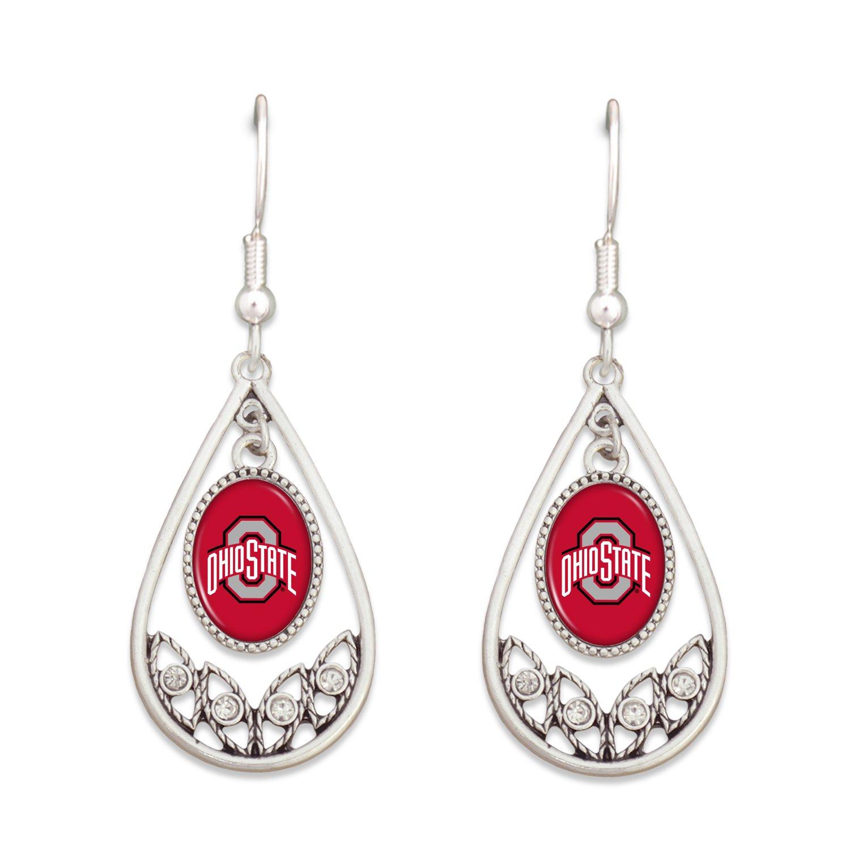 FTH Ohio State Buckeyes Logo Silver Tone Tear Drop Hoop Earrings with Clear Rhinestones
