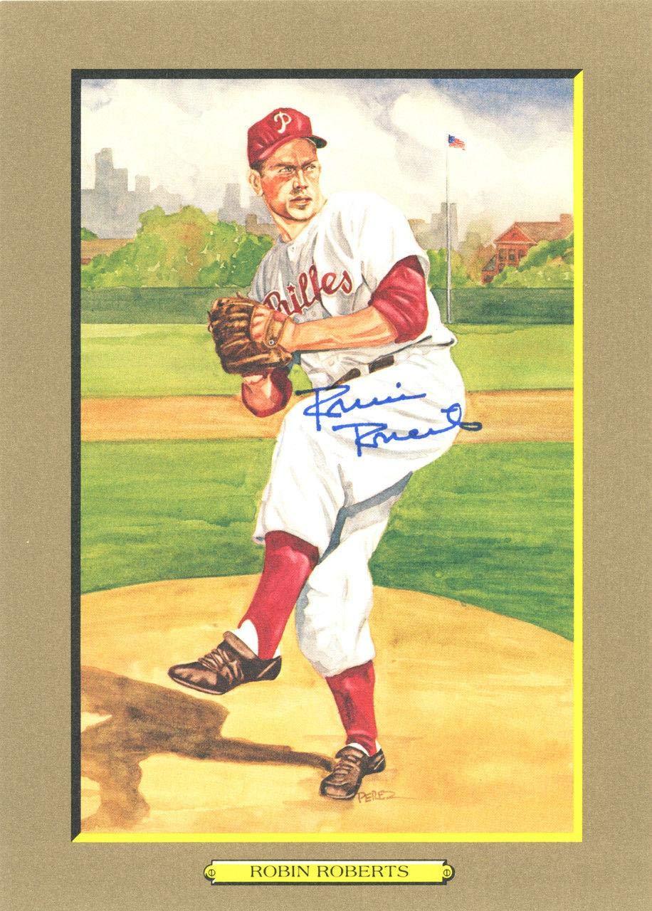 Robin Roberts Autographed 1987 Perez Steele Postcard Phillies #138403 MLB Cut Signatures