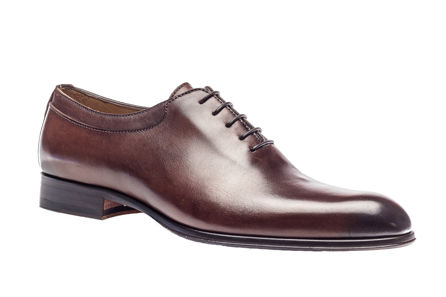 Jose Real Shoes Basoto Collection | Mens Oxford Brown Genuine Real Italian Baby Calf Leather Dress Shoe | Size EU 46