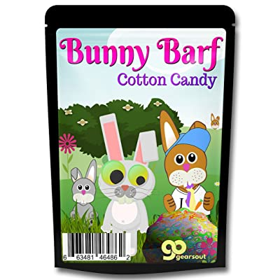 Gears Out Bunny Barf Cotton Candy Gag Funny Easter Basket Stocking Stuffers for Children Rabbit Barf Pink Candy for Kids Teens Secret Santa White Elephant Ideas: Toys & Games