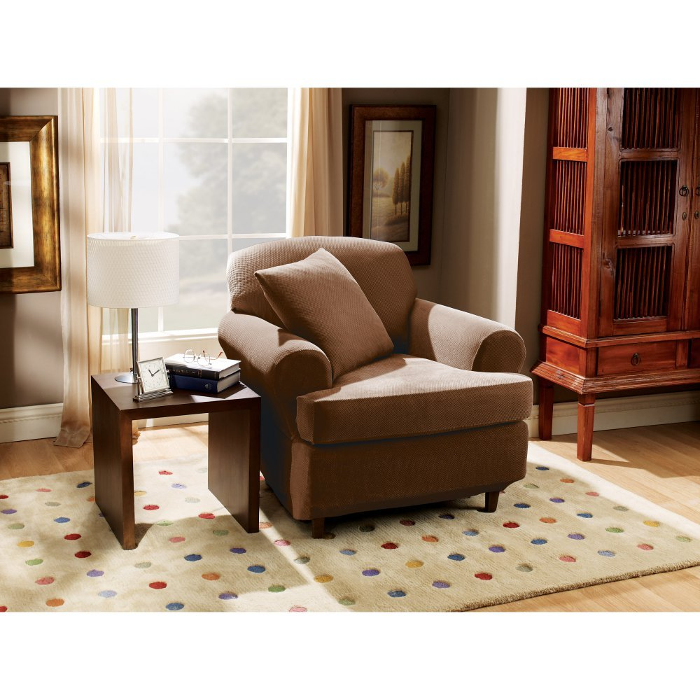 Sure Fit Stretch Pique 3-Piece  - Chair Slipcover  - Chocolate (SF37932)