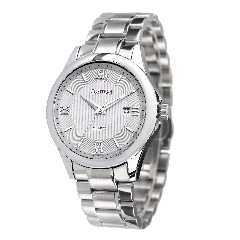 COMTEX 腕時計 白 ローマ数字 カレンダー機能 シンプル アナログ おしゃれ 防水 時計 ホワイトメンズ B073QP2GPC ホワイト ホワイト