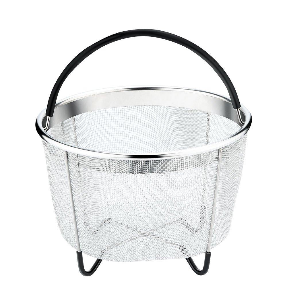 Vanghon Instant Pot Accessories 6 qt Steamer Basket, Eggs Vegetable Steamer Basket for Instant Pot Pressure Cooker with Non-Slip Legs, Food Grade Stainless Steel Steamer(Instant Pot 6 Quart)