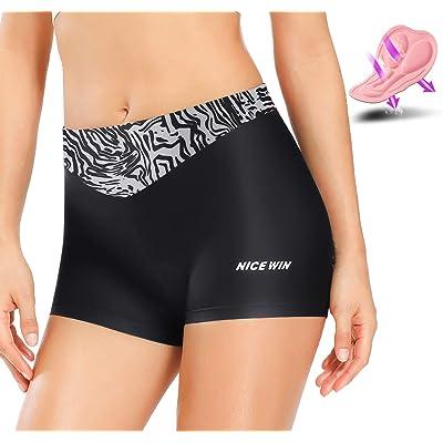 NICEWIN Pantalones Cortos de Bicicleta para Mujer Ropa Interior Acolchada de Cintura Alta Ciclismo Pantalones de equitación