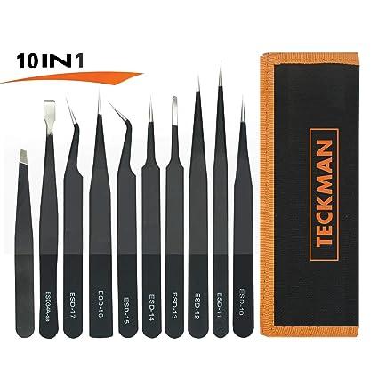 TECKMAN Juego de pinzas de precisión 10 pinzas de acero inoxidable con curvado, puntiagudo,