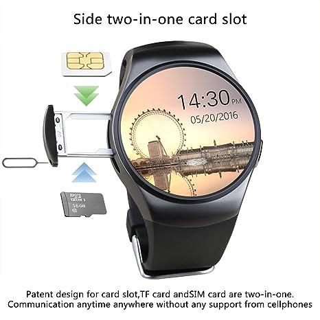 KW18 Bluetooth Smart Watch SIM y tarjeta de TF ritmo cardíaco reloj Smartwatch portátil compatible para smartphones Android y iOS Apple iPhone: Amazon.es: ...