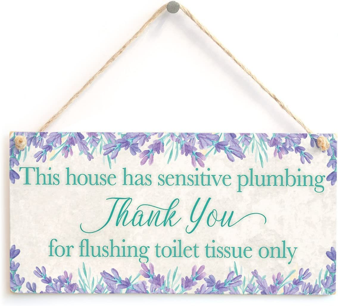"""Meijiafei This House has Sensitive Plumbing Thank You for Flushing Toilet Tissue only - Polite and Informative Septic Tank Sign Functional Toilet Sign 10"""" X 5"""""""