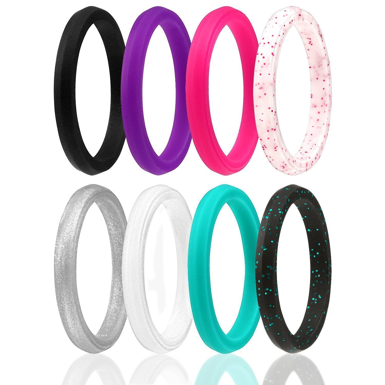 ROQ Silicone Wedding Ring for Women, Set of 8 Thin Stackable Silicone Rubber Wedding Bands Point- Turquoise, Pink, Purple, Black, White, Silver, Black/Turquoise Glitter, White/Pink Glitter - Size 7