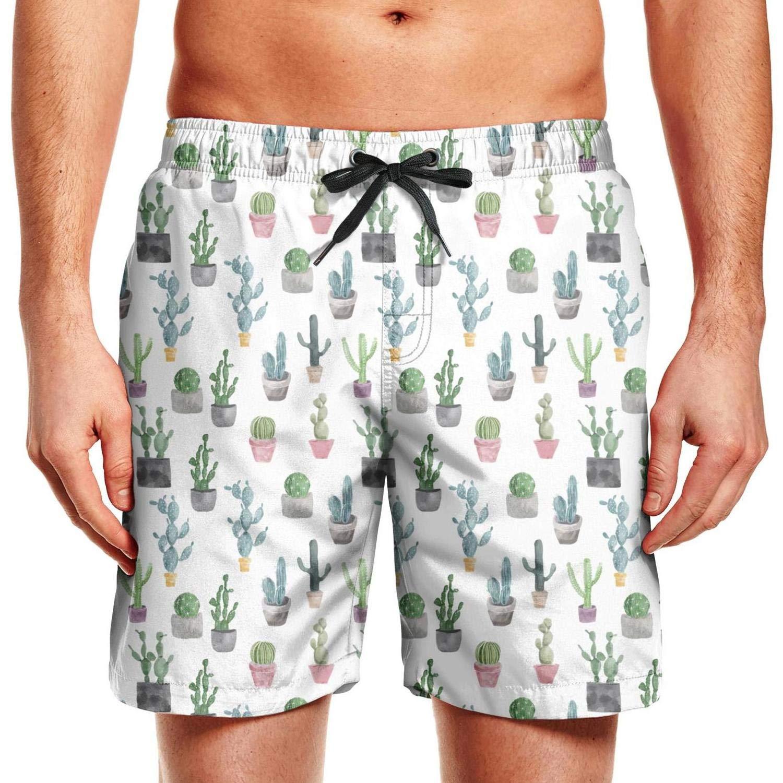 WYLIN Mens Black and White Pot Cactus Quick Dry Beach Swim Trunk