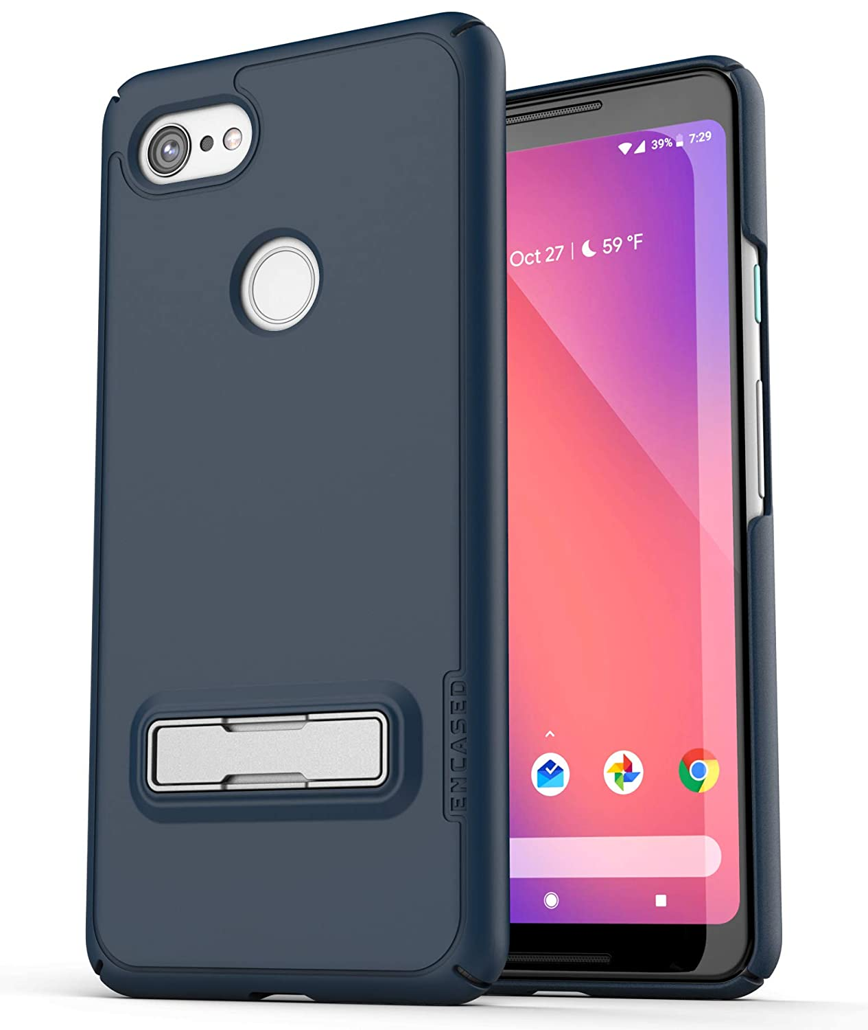 size 40 afc80 8d7dc Encased Slim Case for Google Pixel 3 Case with Kickstand, Ultra Thin  Protective Grip Cover with Metal Stand (Slimline) Navy Blue