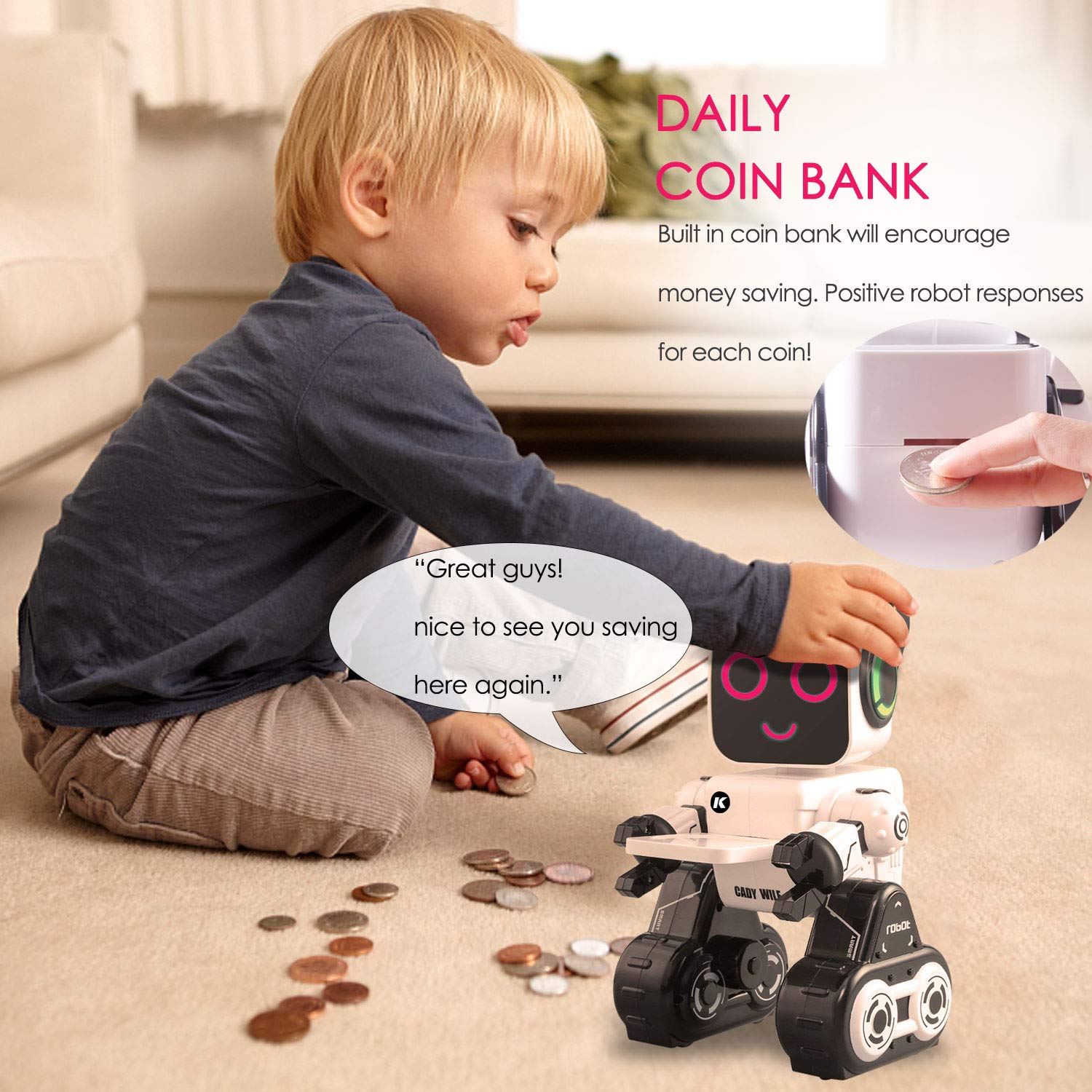 Remote Control Toy Robot for kids,Touch & Sound Control, Speaks, Dance Moves, Plays Music, Light-up Eyes & Mouth. Built-in Coin Bank. Programmable, Rechargeable RC Robot Kit for Boys, Girls All Ages. by IHBUDS (Image #2)