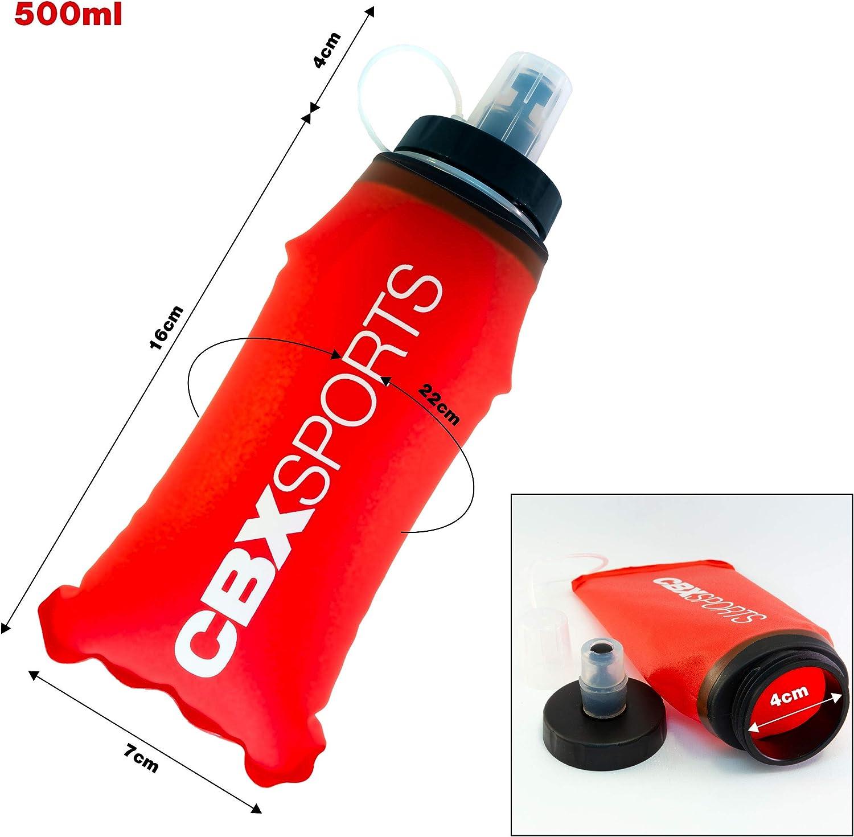 Course /à Pied Pas de Clapotis Flasque Souple et /Étanche pour 500ml dEau Bouteille Gourde Pliable pour Running Compacte et Facile /à Tenir et /à Remplir L/ég/ère Trail Soft Flask de CBX Sports