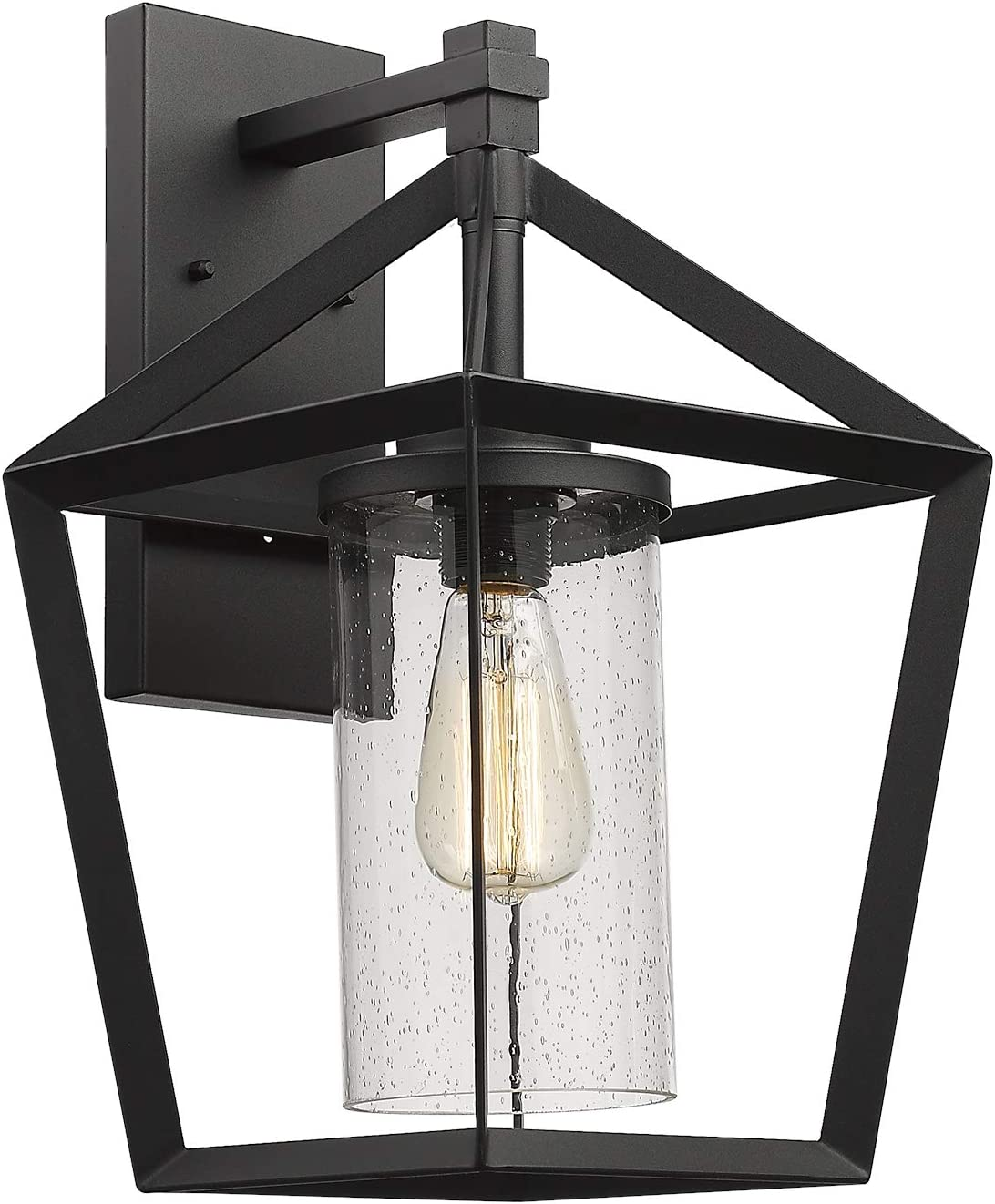 Emliviar Outdoor Wall Light, 17 Inch Large Exterior Light Fixture in Black Finish with Seeded Glass, YE19109W BK