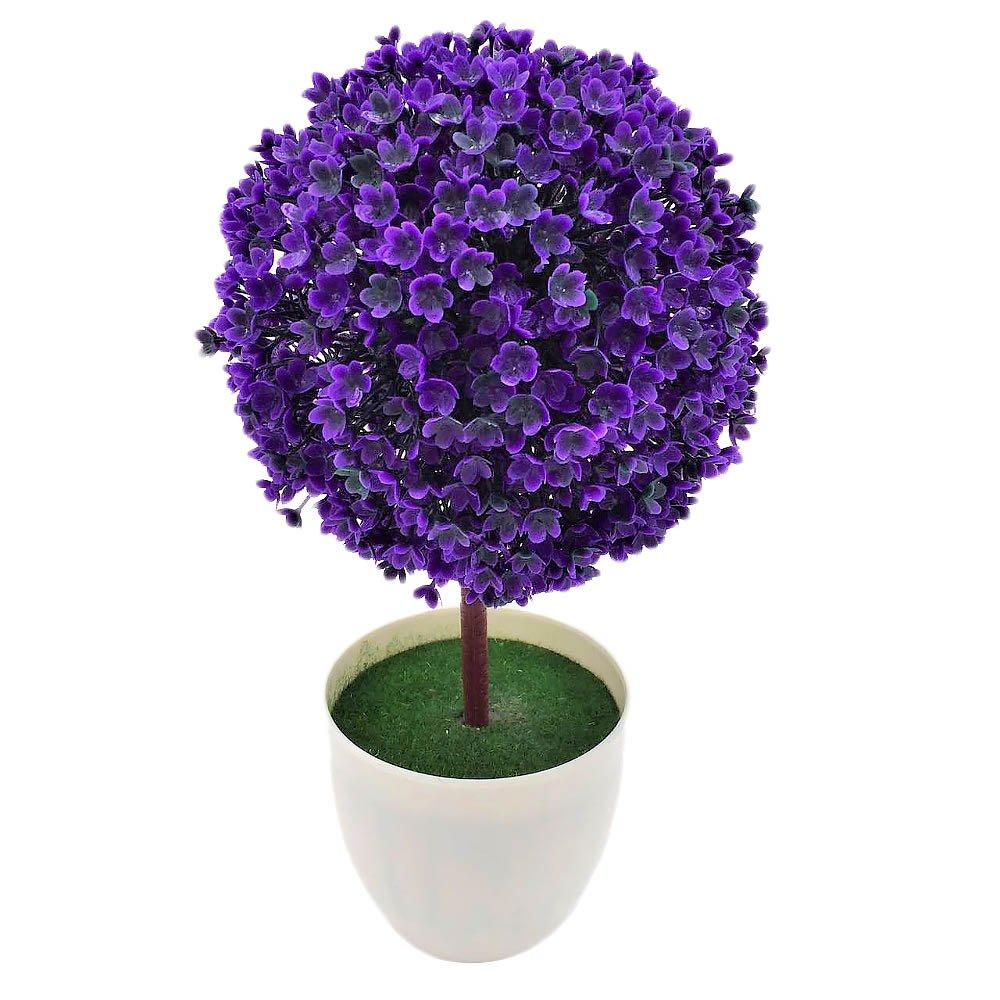 Wekaボールトピアリーミニ人工プラスチックツリーフラワーチェリー雪ツリーボール植物ホームデコレーション植物W/ホワイトプランターポットオーナメントPotted One Size パープル WEKA144200 B07FSB6P9B パープル