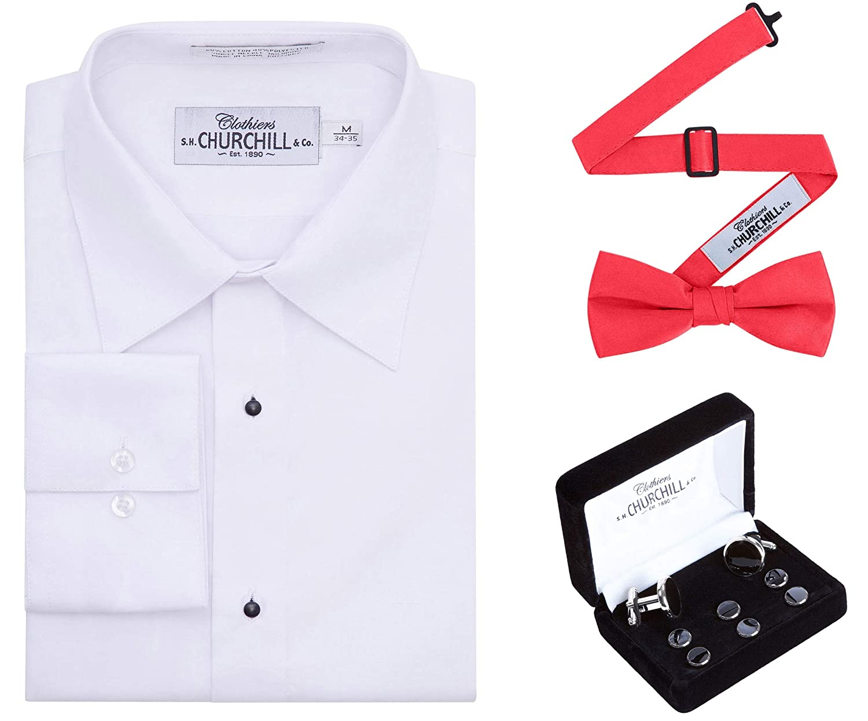 Mens White No Pleat Tuxedo Shirt,/Bow Tie /& Silver Stud Set