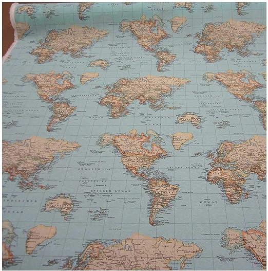 Stoff Meterware Weltkarte Hellblau Landkarte Globus Erde Karte