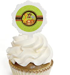 Funfari - Fun Safari Jungle - Cupcake Picks with Stickers - Baby Shower or Birthday Party Cupcake Toppers - 12 Count