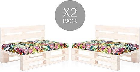 SUENOSZZZ-ESPECIALISTAS DEL DESCANSO Pack 2 Asientos para Sofas de palets, cojin Chill out Relleno con Espuma y enfundado en Tela Estampada Vietnam: Amazon.es: Jardín