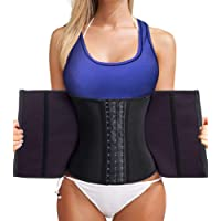 Bafully Womens Latex Tummy Control Weight Loss Waist Trainer Corset Body Shaper with Zipper Hook Steel Boned