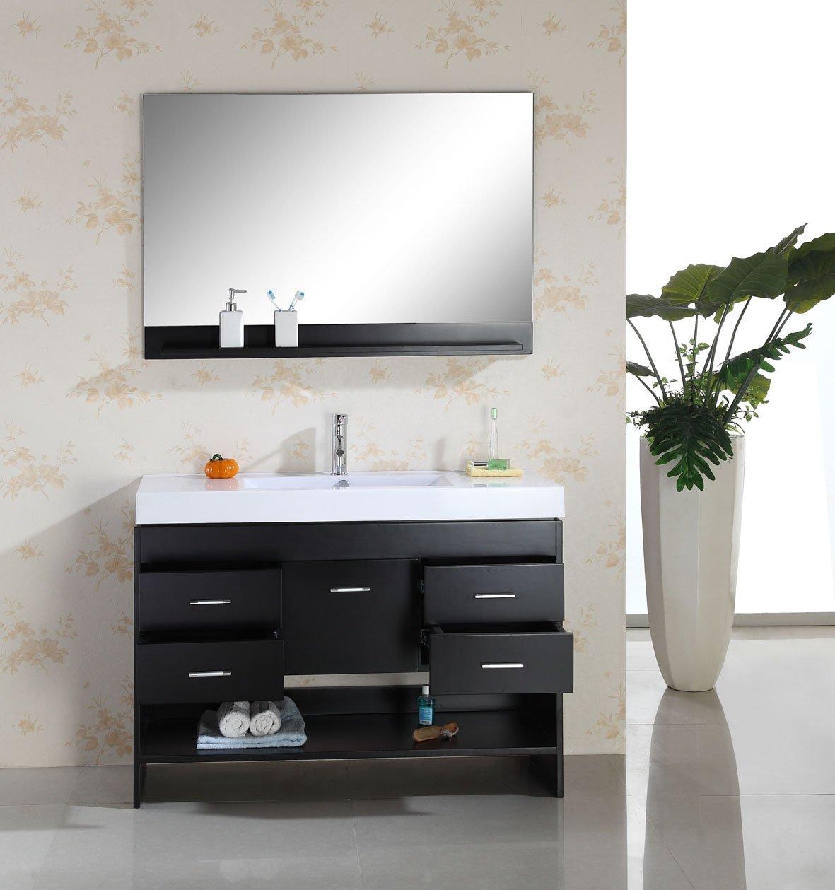 virtu usa ms575ces gloria 48inch single sink bathroom vanity set with shelf ceramic designer basin countertop espresso finish amazoncom