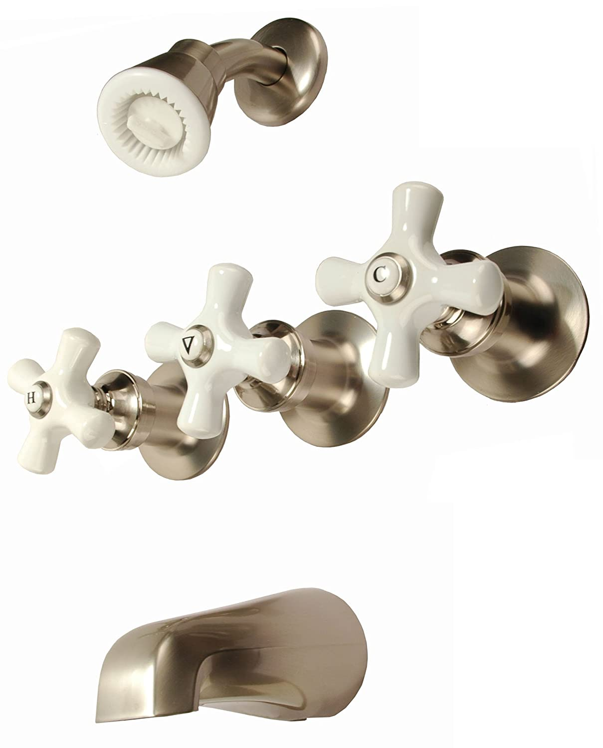 bathroom faucet knobs. 3-handle Tub \u0026 Shower Faucet, Satin Nickel Finish, Porcelain Handle, Compression Stems - By Plumb USA Bathtub And Showerhead Faucet Systems Amazon.com Bathroom Knobs