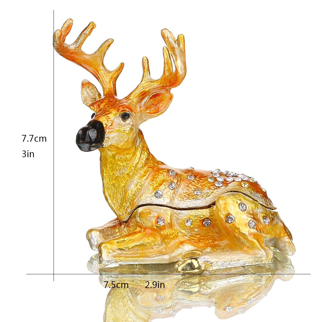 YUFENG Cute Deer Trinket Box Hinged for Girls Animal Figurine Collectible Wedding Ring Holder Favor Metal Table Centerpiece by YUFENG (Image #3)