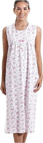 Camisón sin Mangas clásico 100% algodón Estampado con Flores Rosas ...