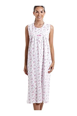 22c0bc87cf Camille Womens Ladies Classic Sleeveless Pink Floral Print 100% Cotton  White Nightdress 12 14