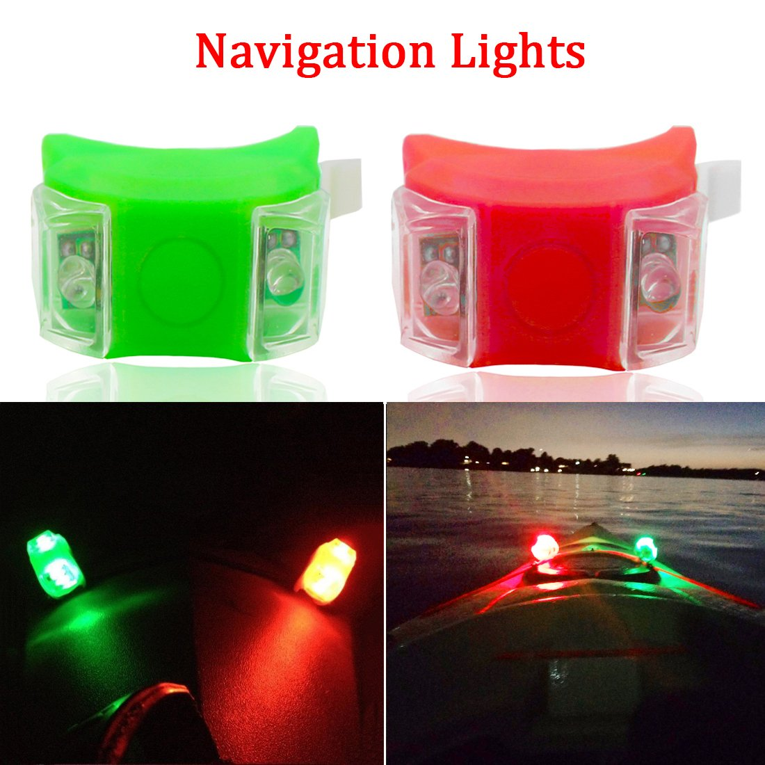 Botepon Marine Boat Bow Lights, Red and Green Led Navigation Lights, Kayak Accessories, Marine Safety Lights Battery Operated for Boat Pontoon Kayak Yacht Motorboat Vessel Dinghy Catamaran by Botepon