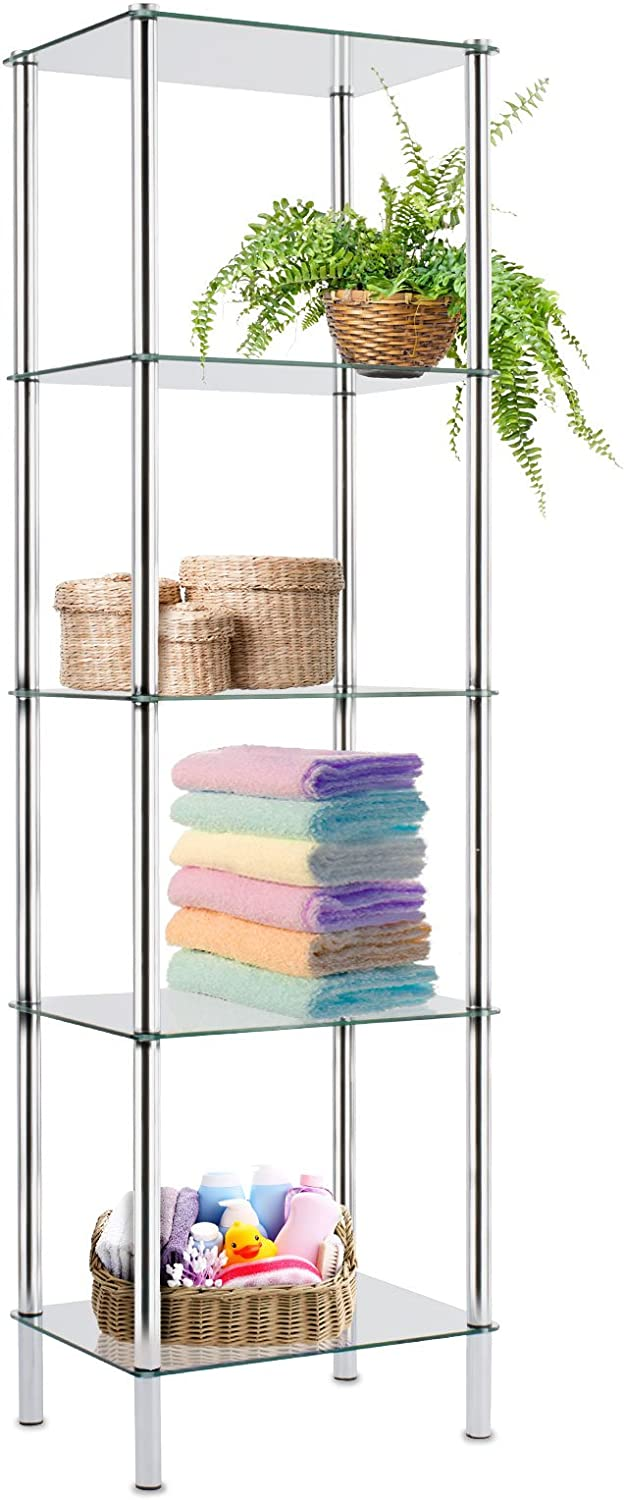 Gina 5 Tier for Bathroom Kitchen Home and Office casa pura Glass Shelving Unit 40x30x134cm 2 Sizes Available