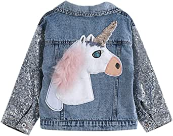 Unicorn Jean Jacket for Girls Kids & Toddler with Sparkly Sleeve , Girls' Spring Outfit Denim Jackets Outerwear