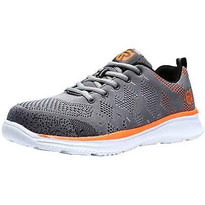 LARNMERN Steel Toe Shoes Men Safety Work Sneakers Lightweight Breathable Shoe Mens Construction Slip Resistant Sneaker 112K(10 Men Black&Blue): Shoes
