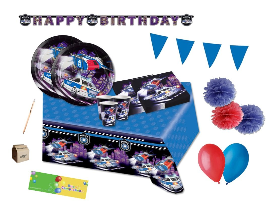 AMSCAN IRPot - Kit N 55 ADDOBBI Festa Party Polizia Compleanno Decorazioni Police