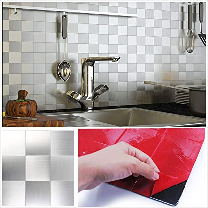 Tile Stickers Back Splash For Kitchen Self Adhesive Tiles Stick On Wall 18pcs Set Kitchen Bathroom Tile Stickers Transfers Flat Printed Covers Peel And Stick Tiles Backsplash Tiles Kitchen Tile Wall