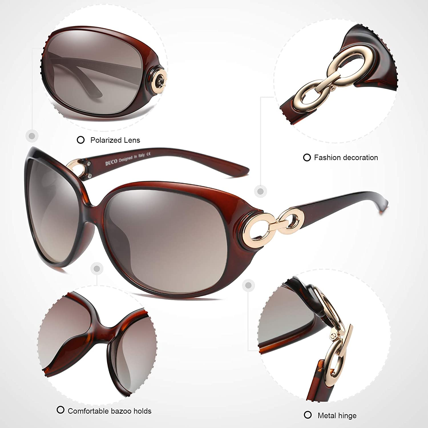 127912b5062 Duco Womens Classic Star Polarized Sunglasses 100 % UV Protection 1220   (Gradient Brown Frame Brown ...