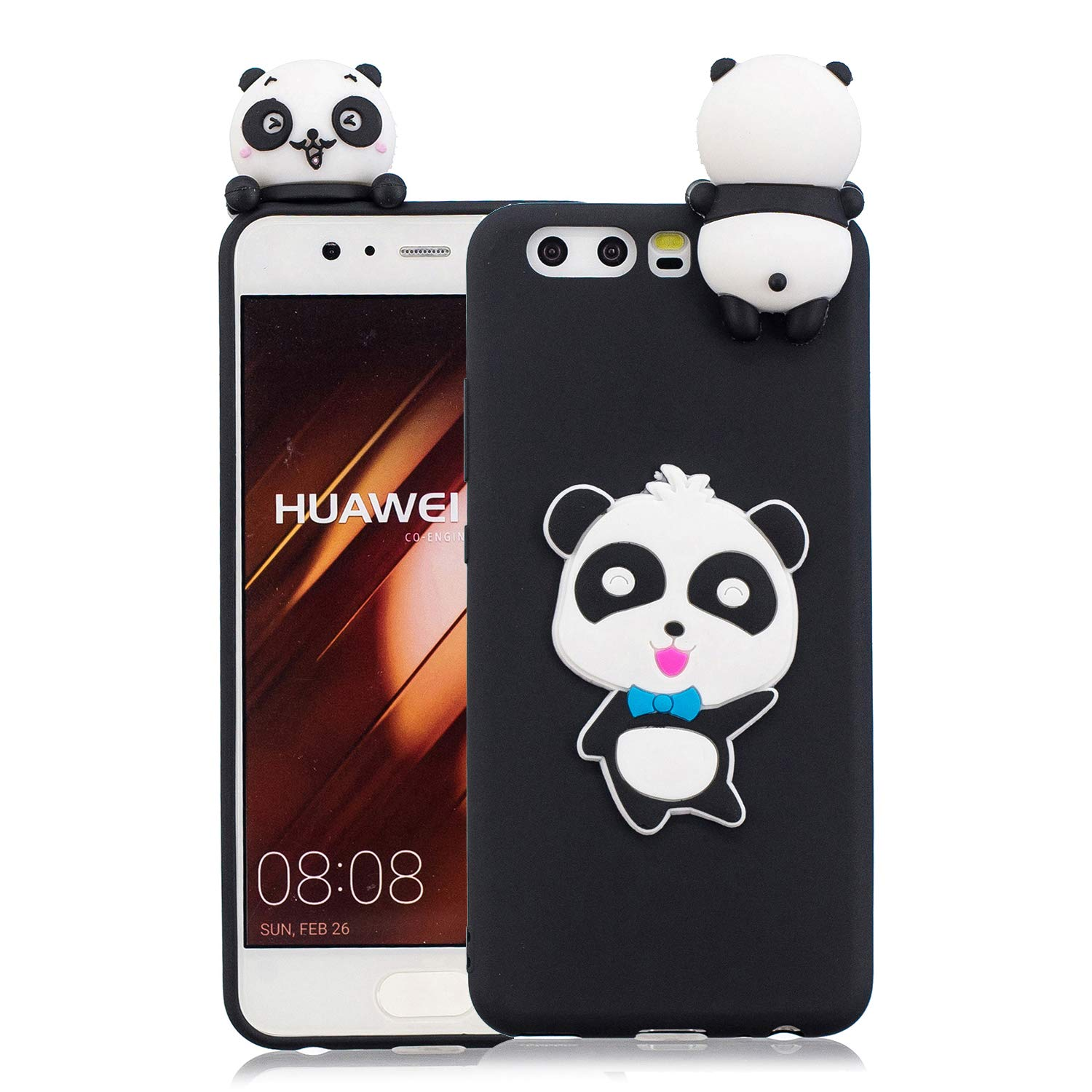 for Huawei P10 Silicone Case with Screen Protector,QFFUN 3D Cartoon [Panda] Pattern Design Soft Flexible Slim Fit Gel Rubber Cover,Shockproof Anti-Scratch Protective Case Bumper