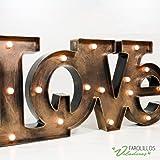 Letras Luminosas LOVE oro viejo