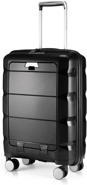 HAUPTSTADTKOFFER - BRITZ - Equipaje de Mano con Compartimento para computadora portátil, Maleta Cabina, Trolley rígido, 4 Ruedas, Super Ligero, 55 cm, 34 L – Negro
