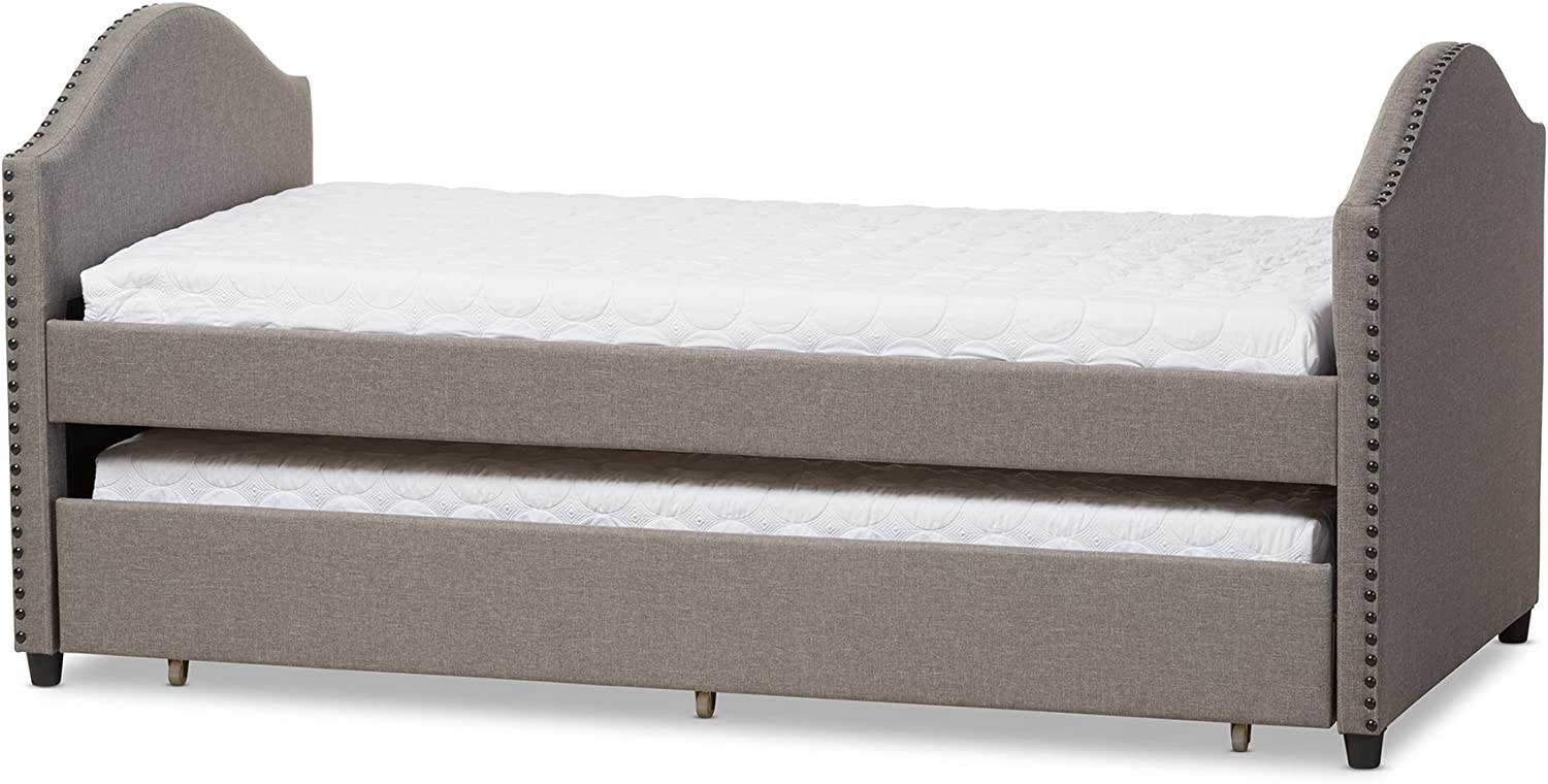 Baxton Studio Alair Fabric Upholstered Daybed with Guest Trundle Bed, Twin, Grey