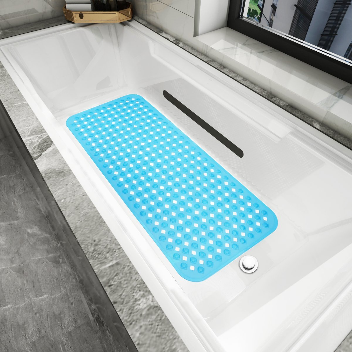 Yimobra Patented Design Bath Tub and Shower Mat Extra Long 34.5 x 15.5 Inch Anti Bacterial Phthalate Free Latex and Machine Washable Materials Black