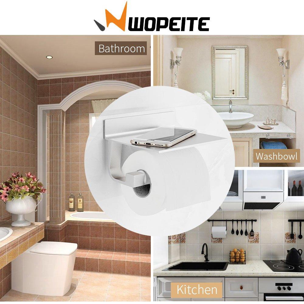 Acabado mate Wopeite Portarrollos ba/ño de papel higi/énico de aluminio con estante para m/óviles Instalaci/ón sin taladro