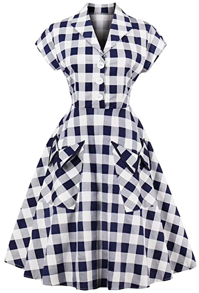 Joansam Womens Polka Dot Dresses 40s Style Short Sleeves Rockabilly Unique 50s Style Dress Patterns