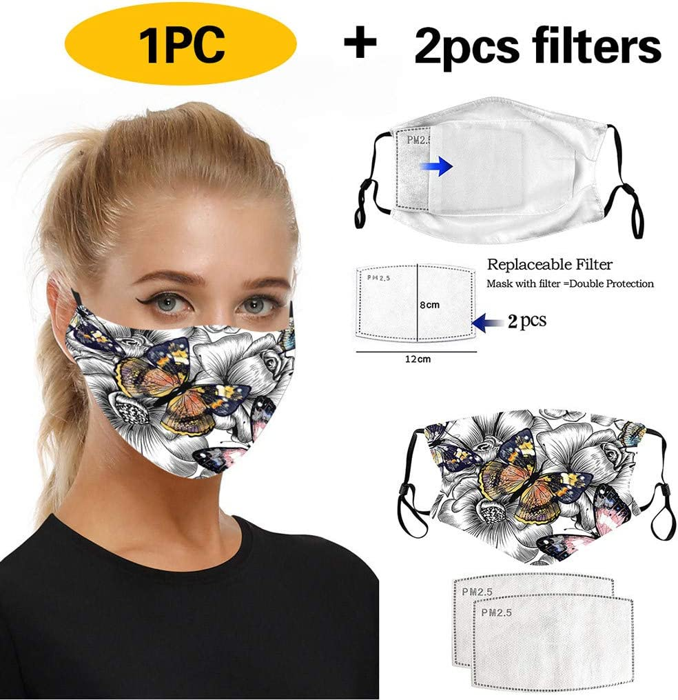 Qanield Funny Animal Printed Adjustable Reusable Washable Face Protective Cover Bandanas Adults Unisex Cloth Mouth Covering Outdoors Indoors