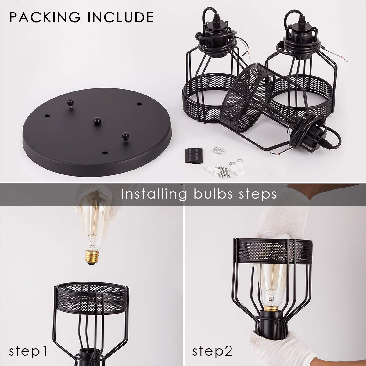 Pendant Light with Rustic Black Metal Cage Shade, Industrial Retro Matte Black Adjustable 3-Lights Hanging Lighting, Pendant lamp Fixtures for Home, Kitchen Island, Barn, Dining Room, Cafe, Farmhouse by ZYuan (Image #7)