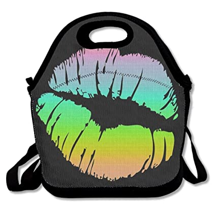 Dozili Rainbow Lip Large & Thick Neoprene Lunch Bags Insulated Lunch Tote Bags Cooler Warm Warm